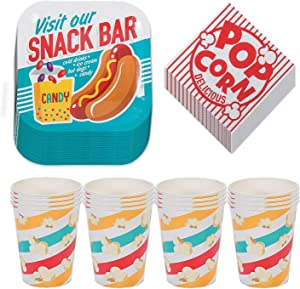 Movie Night Snack Bar Paper Dessert Plates, Popcorn Beverage Napkins, and Cups (Serves 16)