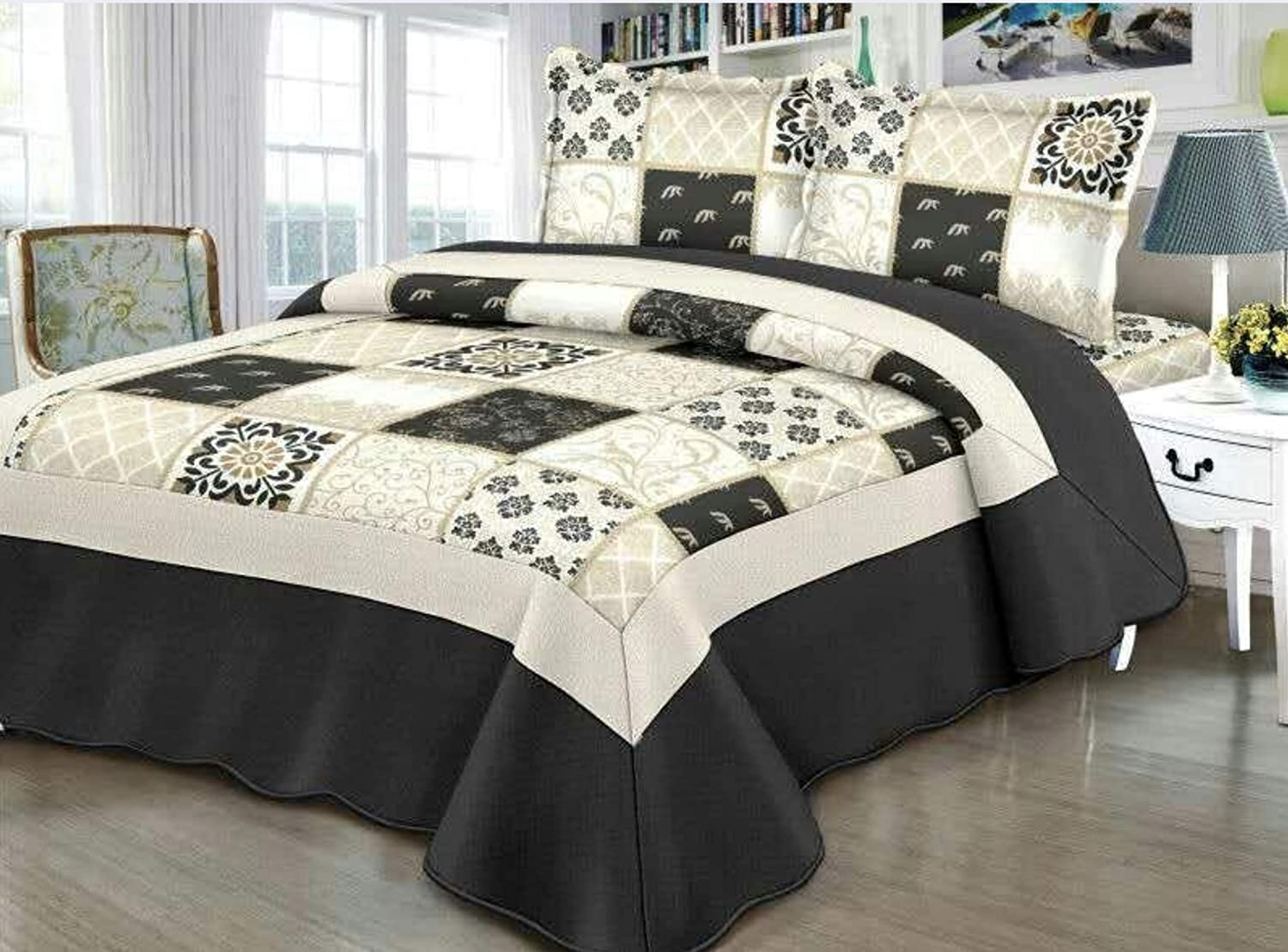 Empire Home Traditional Reversible 3-Piece Quilted Bedding Bedspread Coverlet (Black Patchwork, Queen Size)