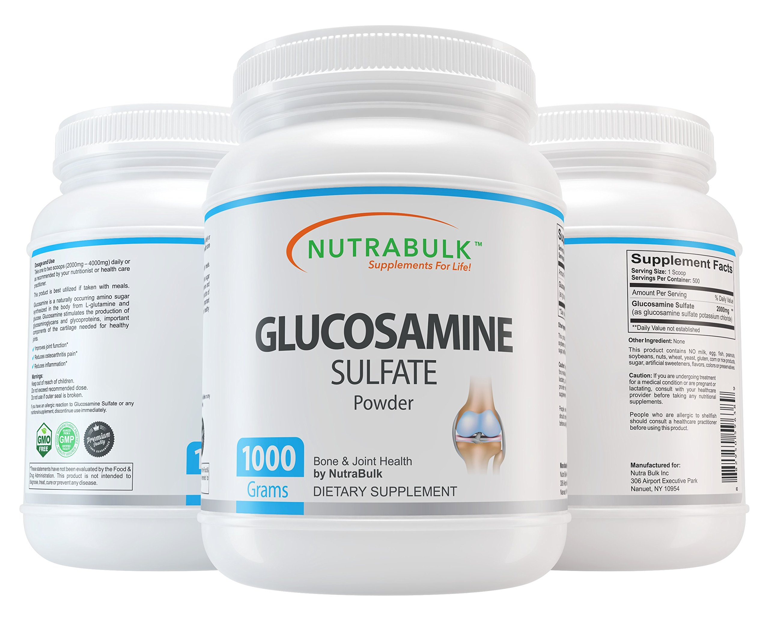 NutraBulk Glucosamine Sulfate Powder - Best Joint Pain Relief Support Supplement for Arthritis, Back, Knee, Hips & Inflammation. 1 Kilogram (2.2lbs) by NutraBulk