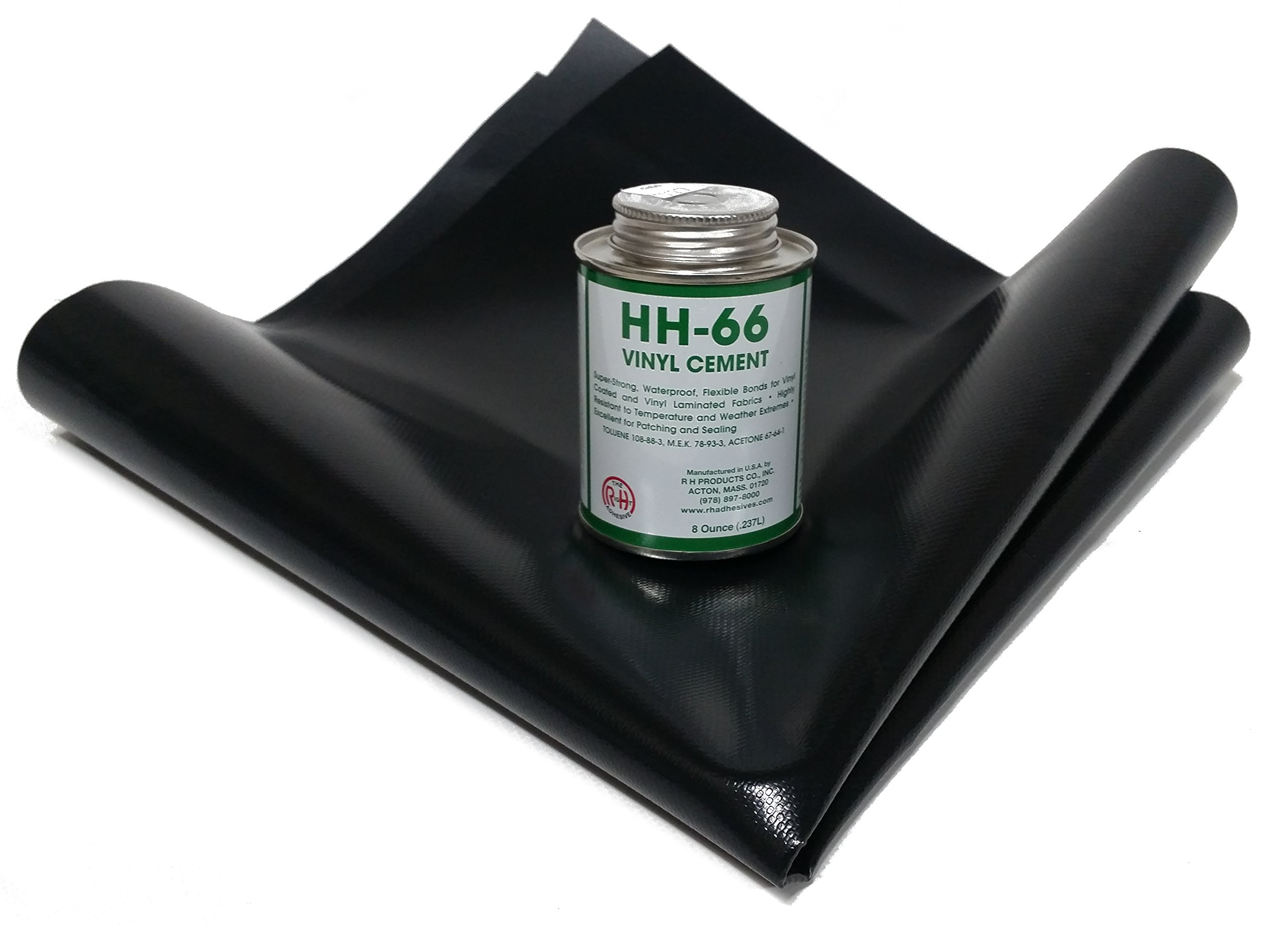 Tarp Repair Kit: 2'x2' 18oz Vinyl Patch and HH-66 Vinyl Cement (Black) by Tarp Nation