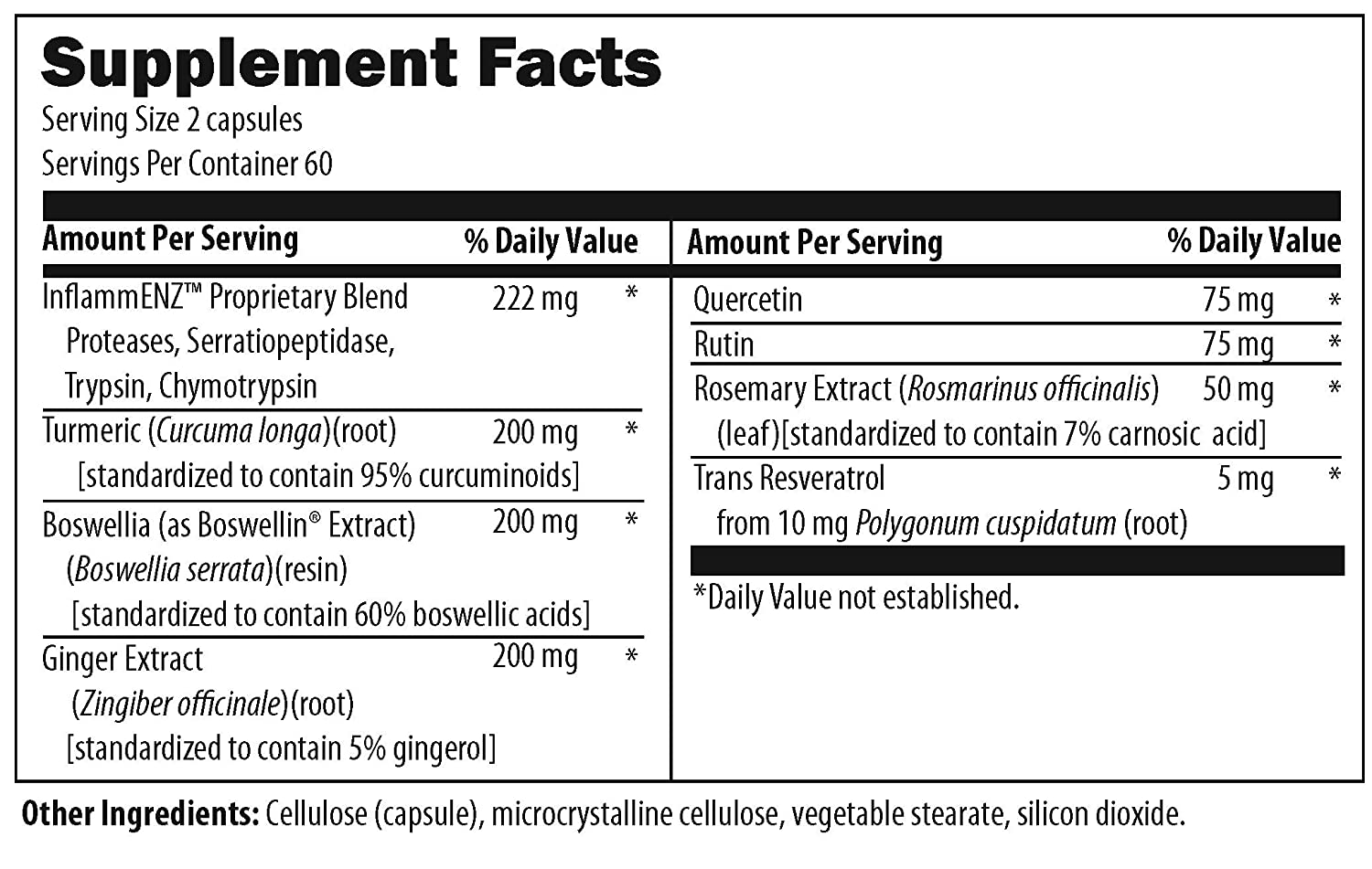 Designs for Health Inflammatone – Proteolytic Enzymes Turmeric Curcumin 120 Capsules