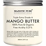 Majestic Pure Raw Mango Butter, 8 oz - Organic Premium Grade for Soft Supple Skin and Healthy Hair