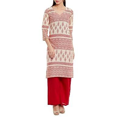 Siebdruck Tribalmotive Frauen ethnische lange Kurta Top, klein, rot
