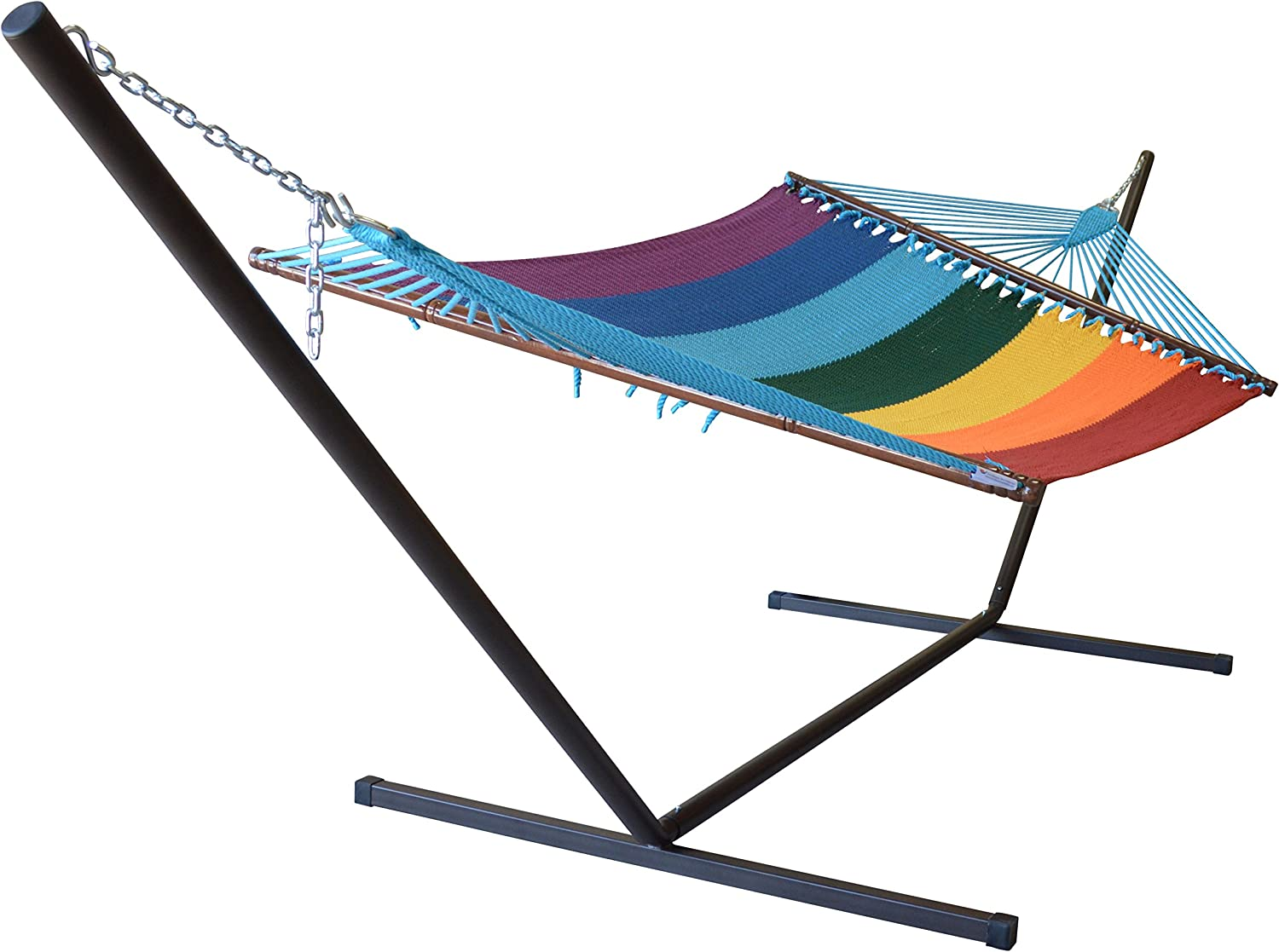 Caribbean Hammocks Jumbo Hammock and 15 ft Tribeam Stand - Rainbow