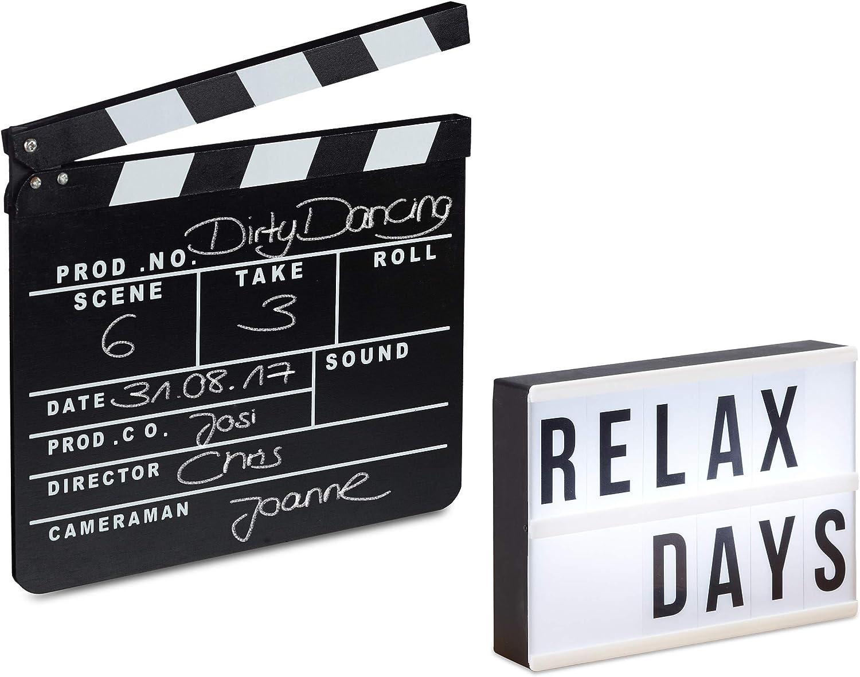 Relaxdays Pack de Caja de Luz Led con 60 Letras y Claqueta de Cine de Madera, Blanco y Negro: Amazon.es: Deportes y aire libre