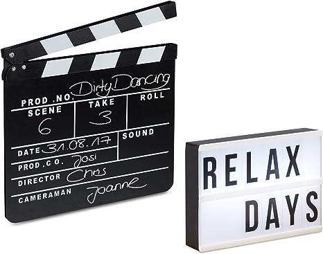 Relaxdays Pack de Caja de Luz Led con 60 Letras y Claqueta de Cine ...