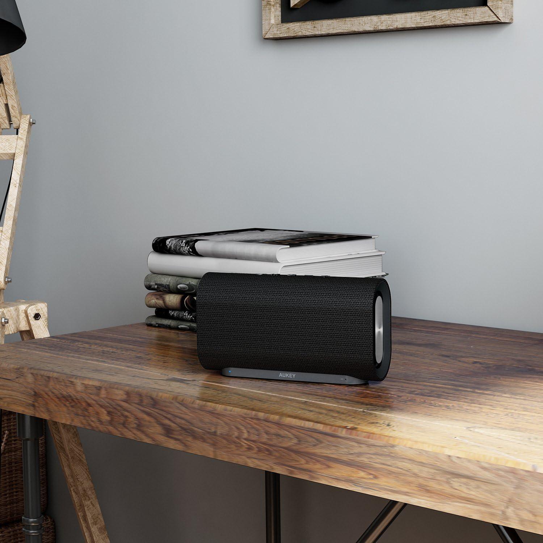 AUKEY Eclipse Bluetooth Lautsprecher 20W Verst/ärkender Bass mit 12 Stunden Spielzeit und Oberfl/äche aus Netzgewebe f/ür Echo Dot Neue Version Android Phones usw.