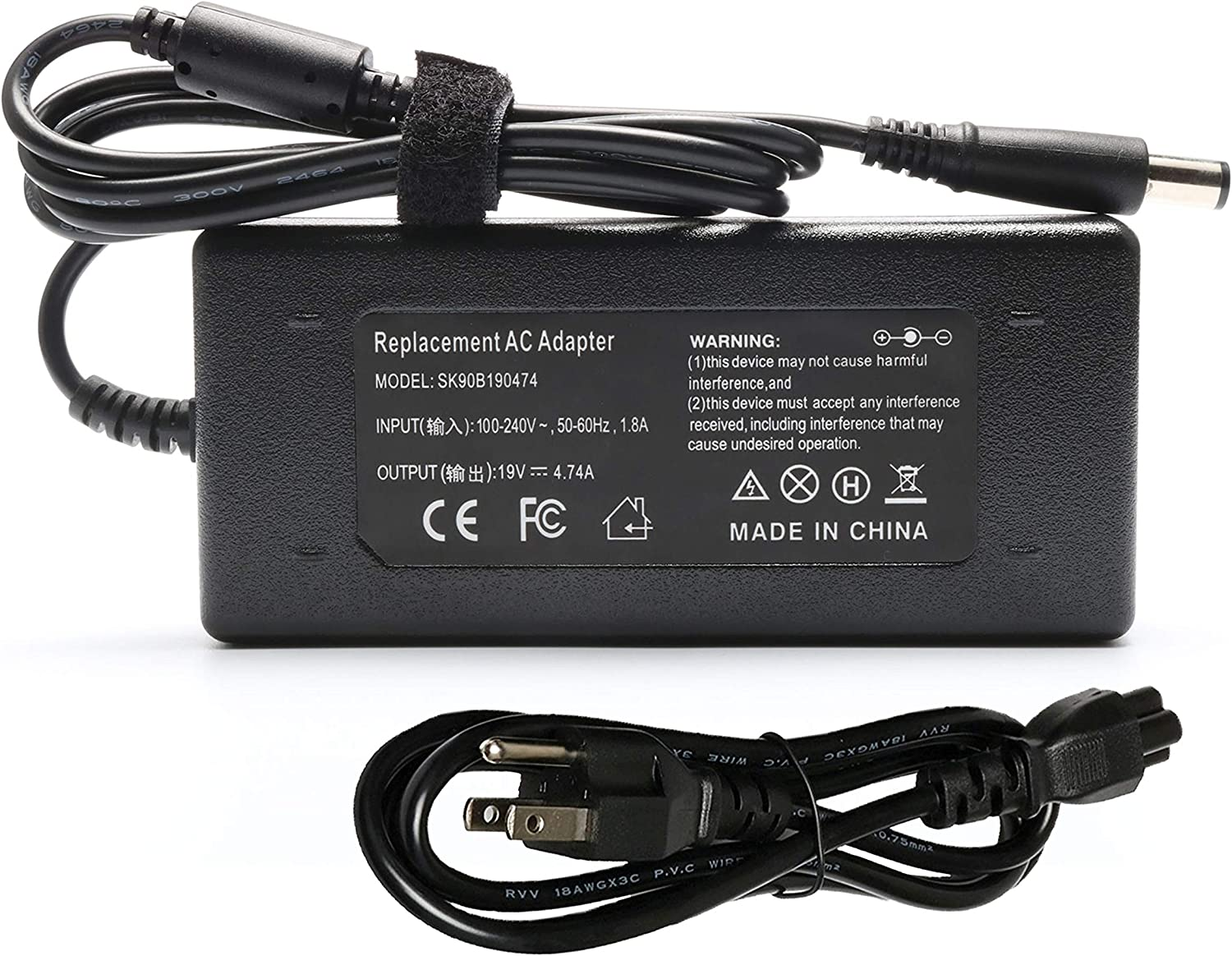90W 19V 4.74A AC Adapter Charger for HP Pavilion Dv4 Dv6 Dv7 G40 G42 G50 G51 G60 G60T G61 G62 G70 G72 2000 2000-2B19WM 2000-2B29WM 2000-2D11DX;HP Compaq 2230S 2710P 6510B 6515B 8510P 8510W Power Cord