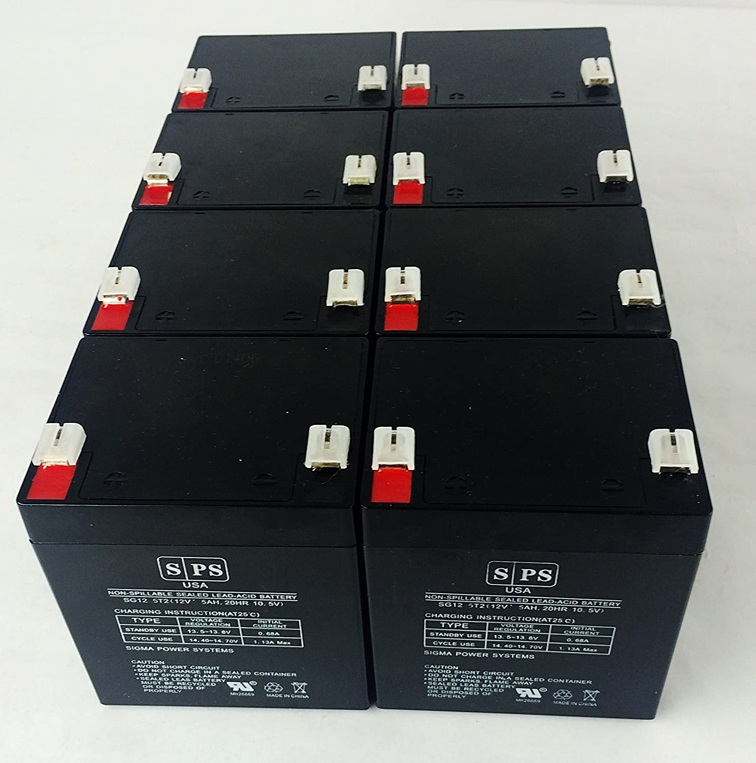 12V 5Ah Genesis Np5-12T, Np 5-12T .250 Terminal Ups Replacement Battery Sps Brand (8 Pack)