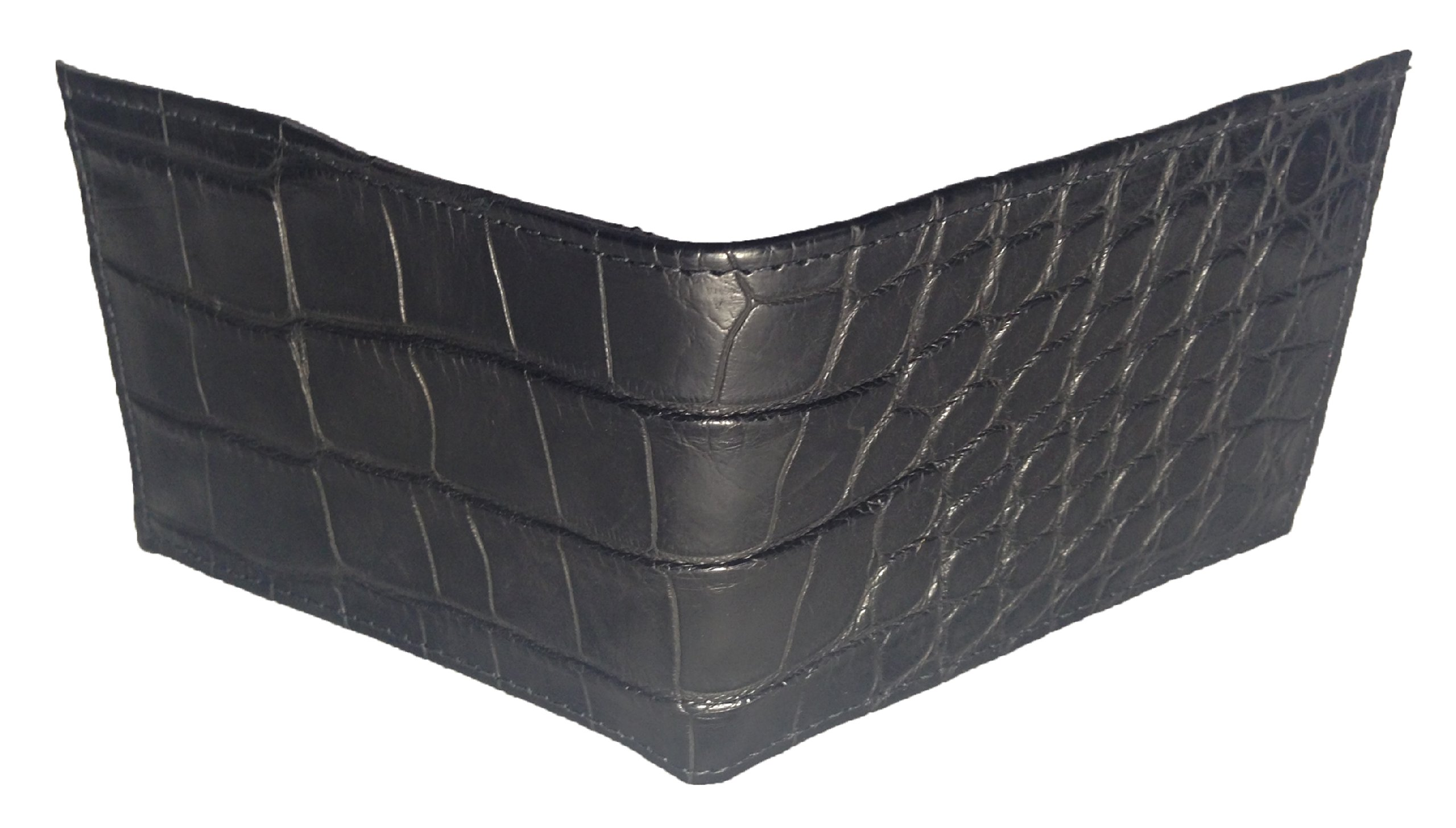 Sultan Genuine Alligator Men's Bifold Wallet - Black Safari (Semi-Gloss) - One Size