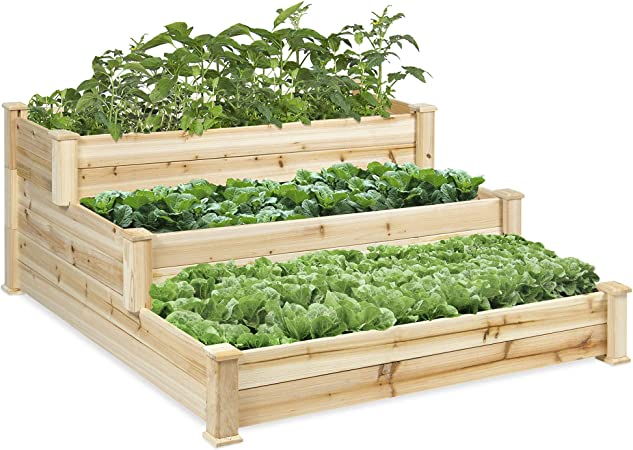 Amazon Com Best Choice Products 3 Tier Wooden Raised Vegetable