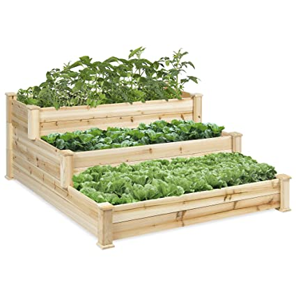 Best Choice Products 3 Tier 4x4ft Elevated Wooden Vegetable Garden Bed Planter Kit W No Assembly Required For Outdoor Gardening Natural