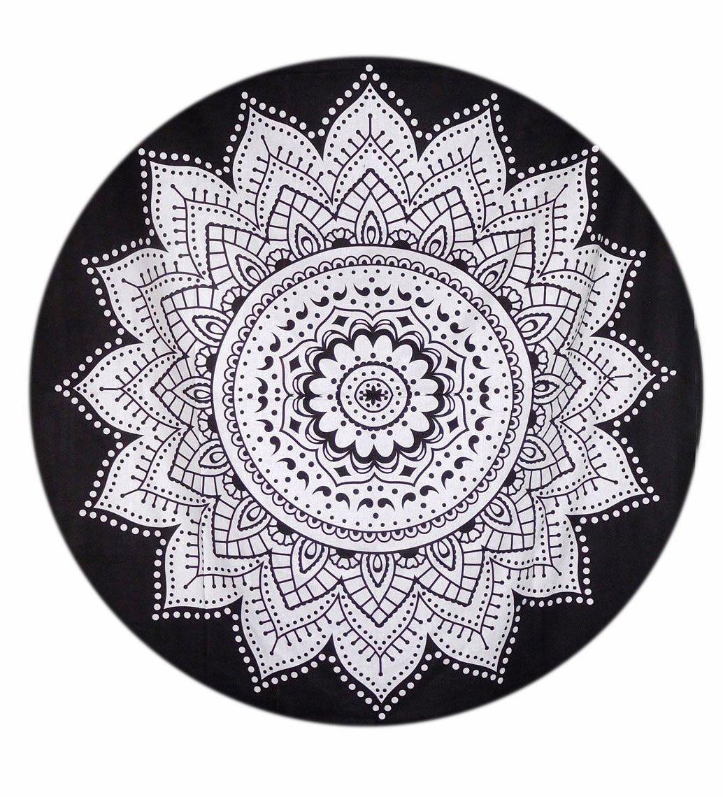 Gemsandcraft mandala nero ombre rotonda da yoga da tavola da 127cm di parete arazzo, mandala indiano hippie gypsy, mandala rotondo, tappetino da yoga, 100% puro cotone arazzi