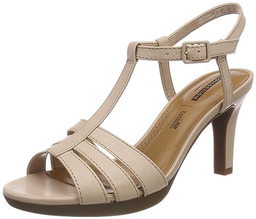 Laureti Pearl, Sandalia con Pulsera para Mujer, Beige (Beige Leather), 37.5 EU Clarks