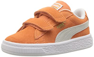promo code 750c5 04ddb PUMA Baby Suede Classic Velcro Kids Sneaker Melon White, 4 M US Toddler