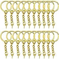 YapitHome 60 Pcs Golden Chain Split Metal Key Rings Key Rings and Chain Jump Rings Key Chains with Screw Eye Pin…