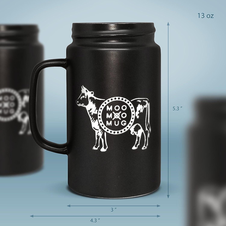 Pack of 2 MOOMOOMUG Ceramic Mason Jar Mugs Black and White Pack 1 pristine white and 1 slick black ceramic mason jar mug