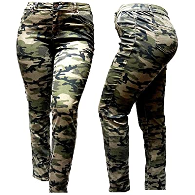 MI JEANS 1826 IQ Womens Plus Size Stretch Distressed Ripped Camo Camouflage Skinny Jeans Pants