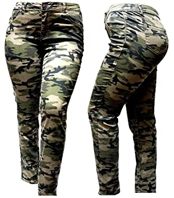 3f2577a519d Jack DavidSweetLook Womens Plus Size Stretch Distressed Ripped Camo  Camouflage Skinny Jeans Pants (14