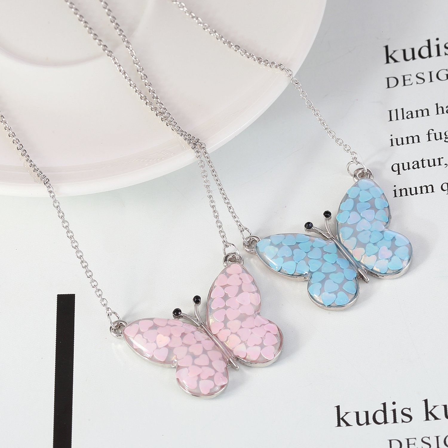 Lemonage Butterfly Necklaces for Girls Kids with Stunning Alloy Pendant Necklace, Children 3+ (Pink) by Lemonage (Image #4)