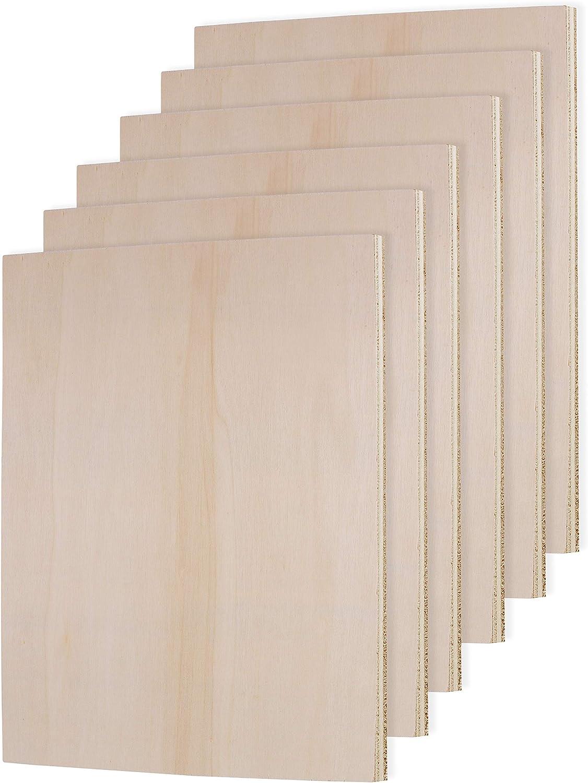 Belle Vous Holzscheiben Sperrholz - 30x30cm Blanko Holz Zuschnitt Quadratisch mit Schleifschwamm Holzplatten 2mm dick aus Naturholz zum Basteln 6 Stk Pyrografie Werken Stanzen