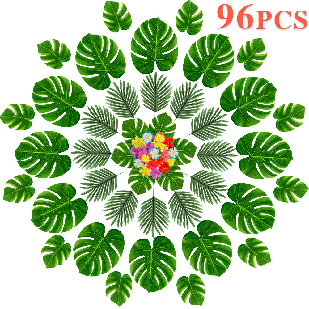MOMOTOYS 96 Pcs Tropical Party Decorations Supplies, Tropical Palm Leaves and Hawaiian Flowers, Premium Party Décor for Luau Party Supplies Aloha Hawaiian TIKI Safari Party Table Decorations
