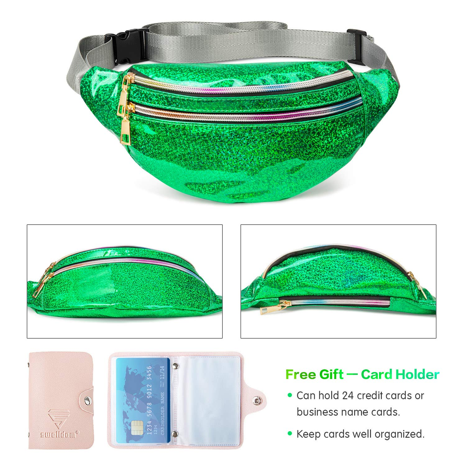Fashion Waterproof Waist Pack with 3 Pouches Adjustable Strap Holographic Fanny Packs for Women Men Kids Shiny Causal Bags Cute Bum Bag Hip Sacks for Travel Festival Hiking Rave Fanny Pack Belt Bag