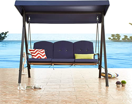 PatioFestival 3-Person Outdoor Patio Porch Swing Bench,Patio Canopy Swing Hammock