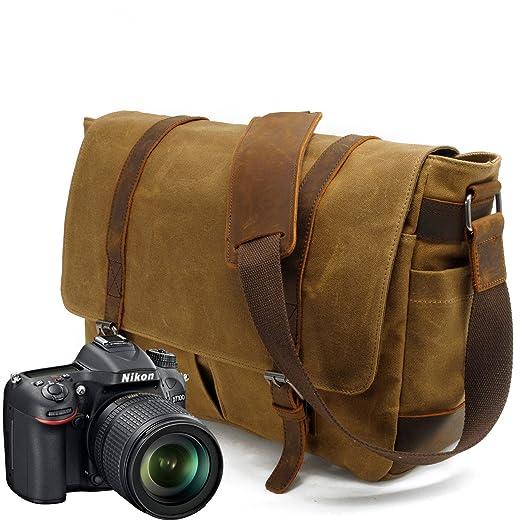9 opinioni per Y-DOUBLE Borsa di tela impermeabile a tracolla grande per fotocamera e accessori