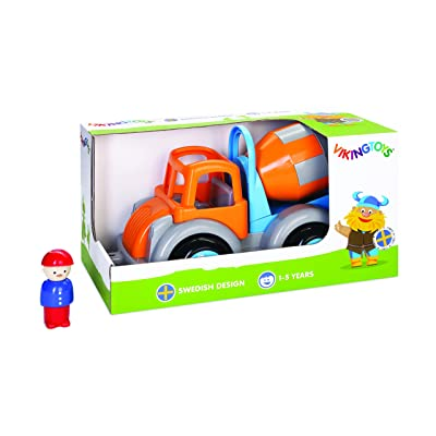 "Viking Large Fun Color Cement Truck 10"" Vehicle with Removable Driver - Really Spins! - Dishwasher Safe - Indoor & Outdoor Use - Ages 12 Months and Up: Toys & Games"