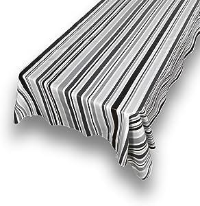 "Carnation Home Fashions DFLN-52/BS/31 Bohemian Stripe Vinyl Flannel Backed Tablecloth, 52"" x 52"", Black"