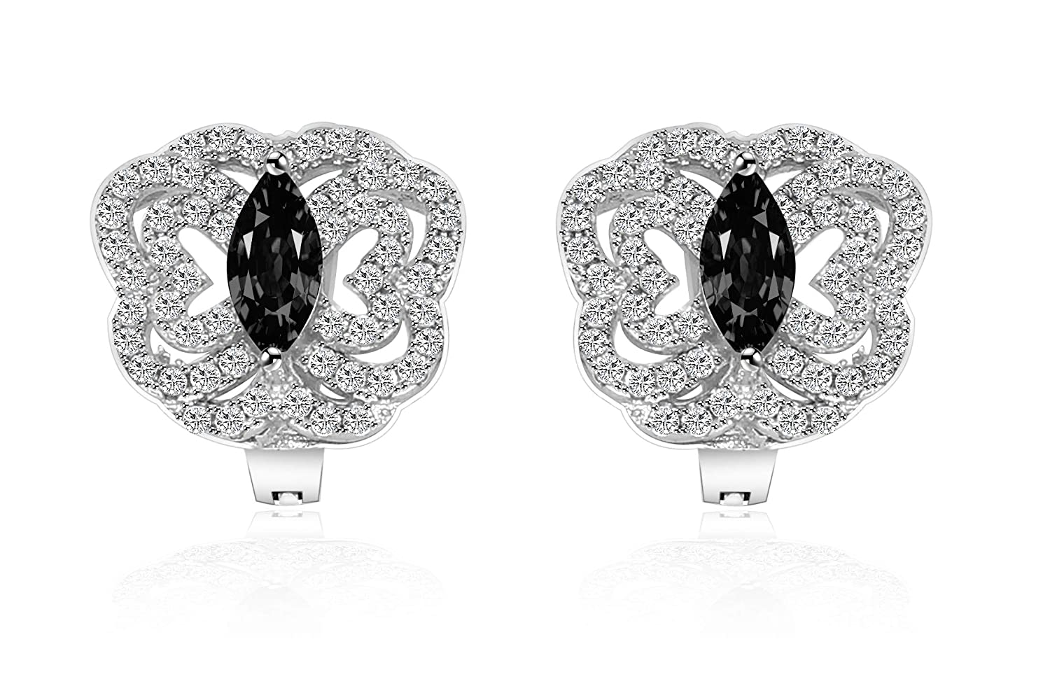 Colorful CZ Floral Butterfly Starriness Earrings for Girl Woman Man Luck Dora Platinum White Gold Plated with AAA