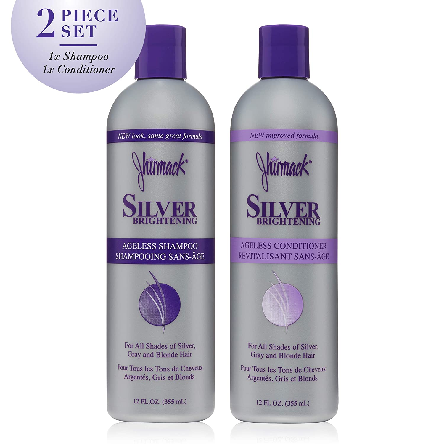 Jhirmack Silver Brightening Ageless Purple Shampoo Set of 2 developed for all shades of silver, gray, and blonde hair and enhance highlights - 1 Shampoo + 1 Conditioner