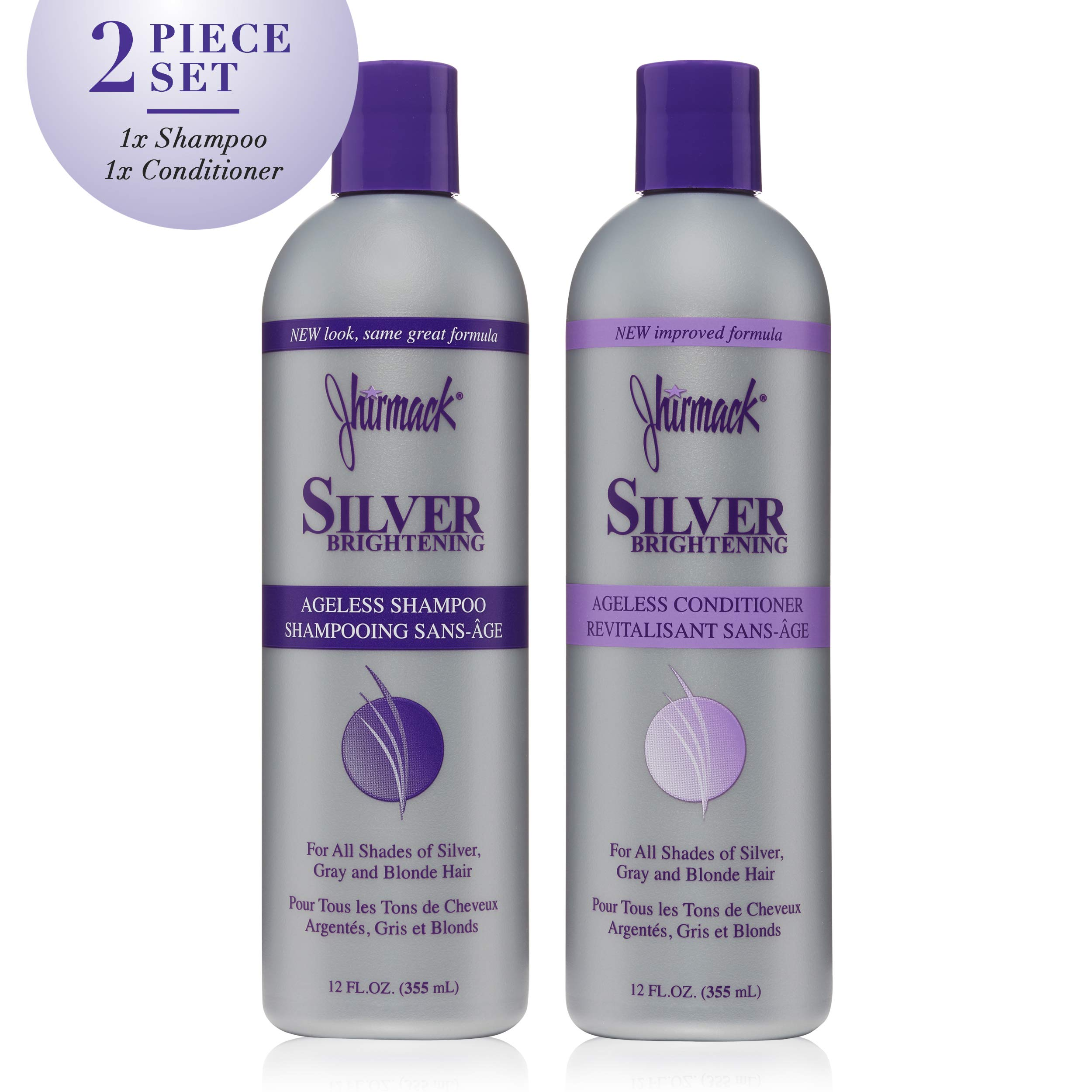 Jhirmack Silver Brightening Ageless Purple Shampoo Set of 2 developed for all shades of silver, gray, and blonde hair and enhance highlights - 1 Shampoo + 1 Conditioner by Jhirmack