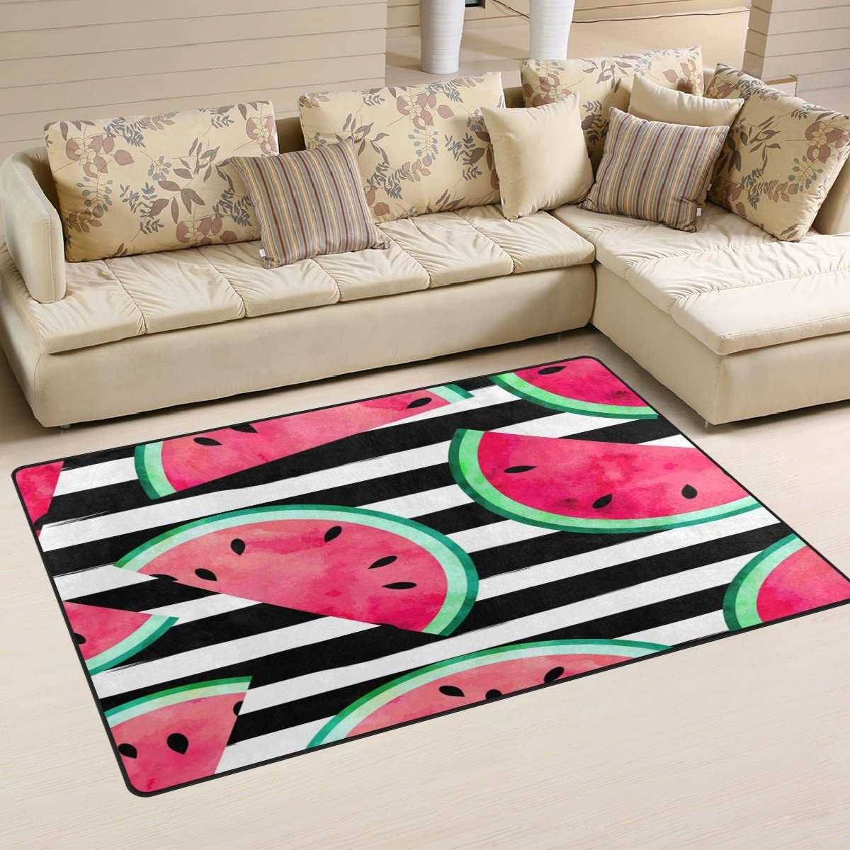 WOZO Fruity Watercolor Watermelon Stripe Area Rug Rugs Non-Slip Floor Mat Doormats Living Dining Room Bedroom Dorm 60 x 39 inches inches Home Decor