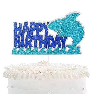 Baby Shark Birthday Cake Topper - Under The Sea Animal Shark Sea Spray Cake Décor - Baby Shower Kids Birthday Party - Summer Beach Pool Party Decoration