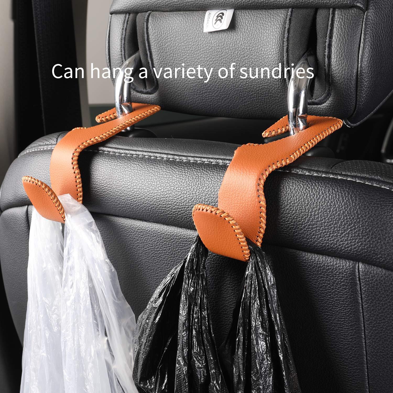 LIUDU Car Seat Rear Headrest Hook Portable Storage Bag Holder Hook Grocery Shopping Bag Travel Car Safety Hook Hanger 2 Piece Brown
