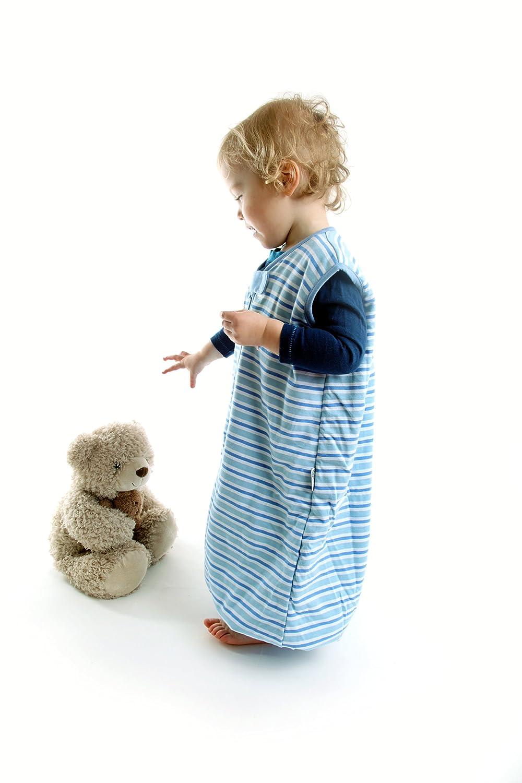 Saco de repetición Saco de dormir con patas para el verano en 0.5 tog - Rayas azules - Disponible en 5 Varias Tallas) azul azul/blanco Talla:3-4 años: ...