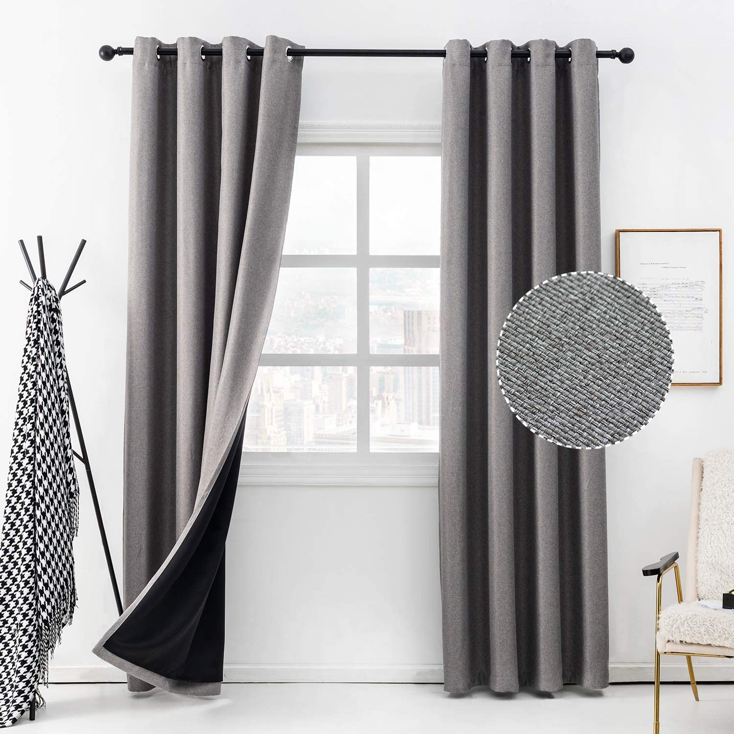 Anjee Linen Curtain for Living Room 95 Inches 100% Blackout Burlap Curtain Total Room Darkening Window Drapes Noise Reduction Thermal Insulated Drapery Panels Home Decor,Grey 52x95 Inches