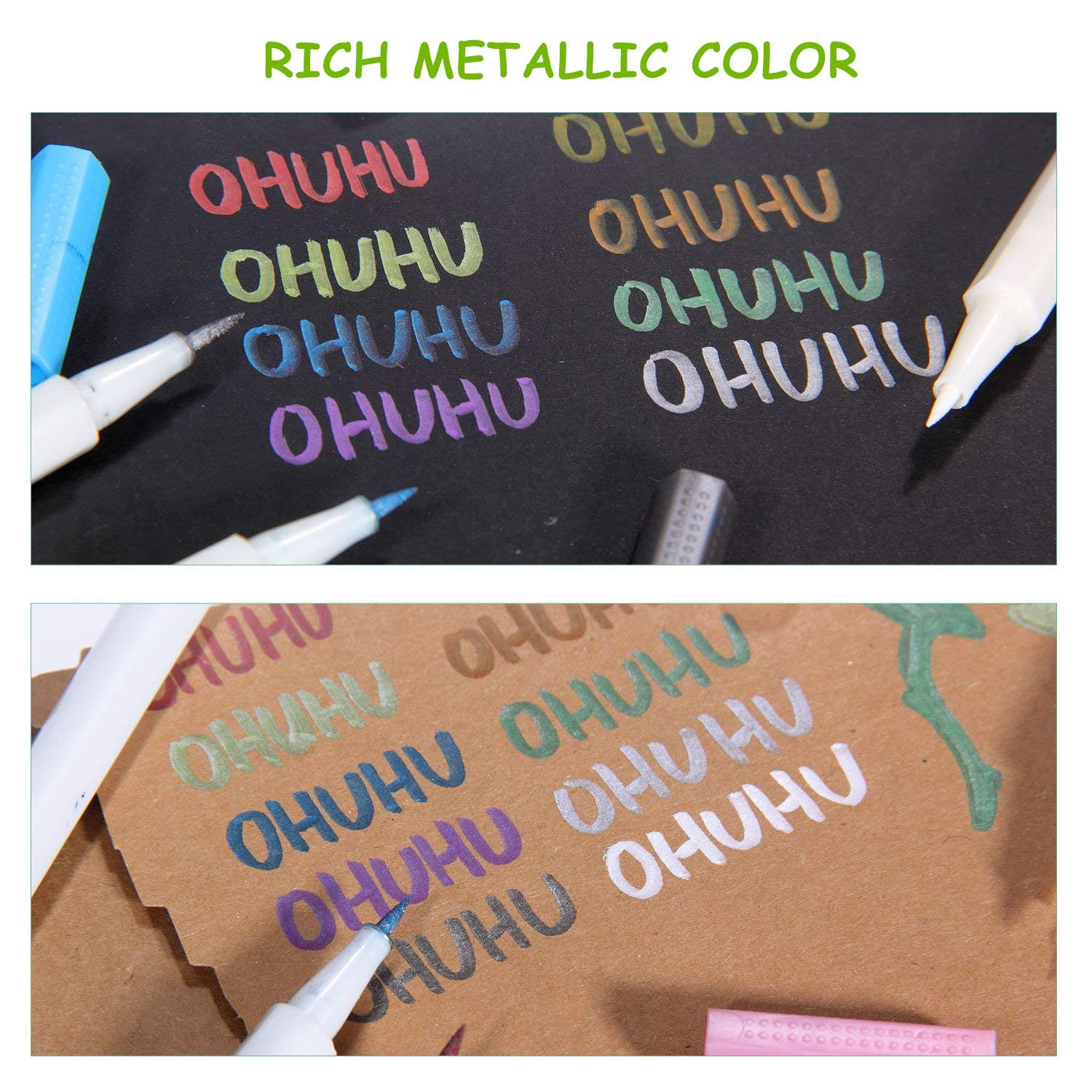 Metallic Markers Glitter Paint Pen Calligraphy Brush Pens, Ohuhu Set of 10 for DIY Birthday Greeting Gift Thank You Card, Scrapbook Photo Album, Rock Art Painting, Brush Tip Back to School Art Supply by Ohuhu (Image #7)