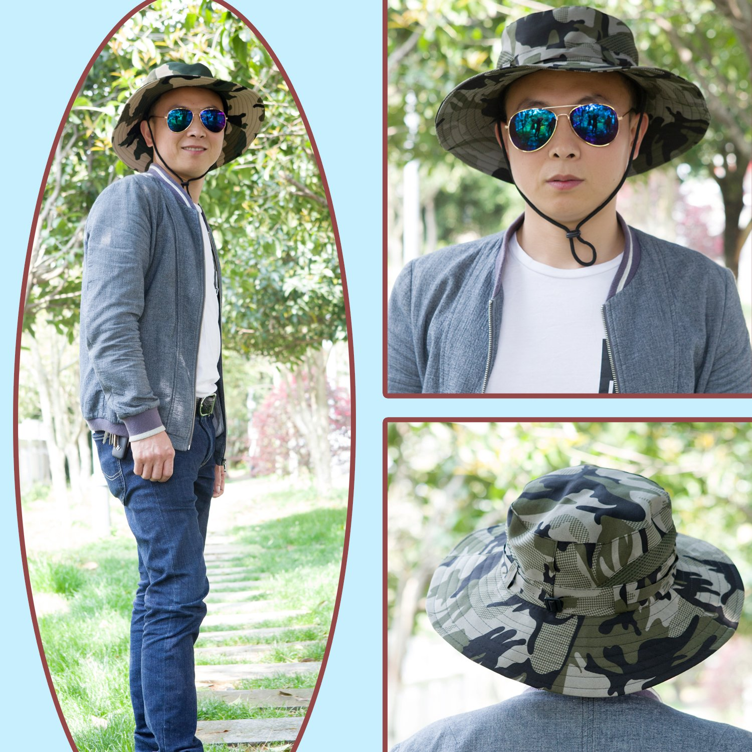 abe196352aed9 Amazon.com  Anleolife CP Amy Green Jungle Boonie Hat Travel Biking Boating  Hiking Beach Vacation Bucket Cap  Clothing