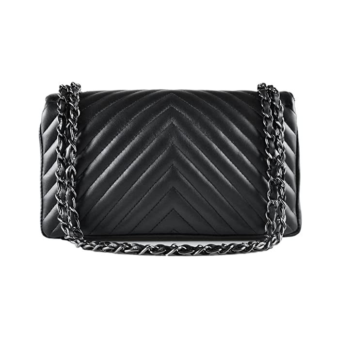 8904922bc5 SINDY Italian quilted cross body shoulder clutch purse metal and leather  chain soft smooth chevron quilted leather (medium DN black)  Handbags   Amazon.com