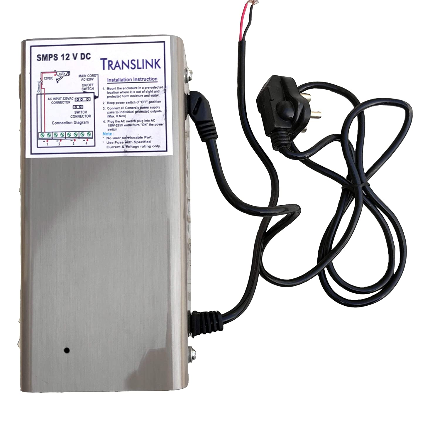 buy power supply ( smps ) for cctv/ surveillance bullet & dome camera,  output 12v dc 10a(8 channel smps) online at low prices in india - amazon in