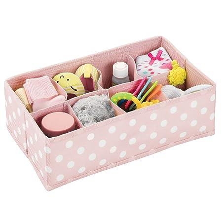 mDesign Caja de almacenaje para habitaciones infantiles o baños - Organizador de armarios con 8 compartimentos - Cesta organizadora para el armario de los ...