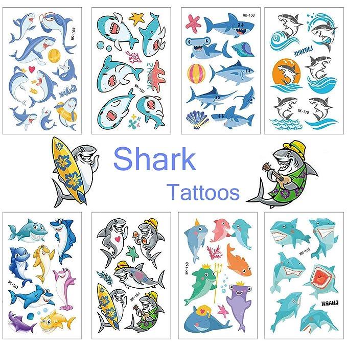 SZSMART Tiburón Tatuajes temporales Sirena Tatuajes Falso Tatuaje 20 Hojas Pegatinas para Niños Niñas Infantiles Regalo para Fiesta de Cumpleaños ...