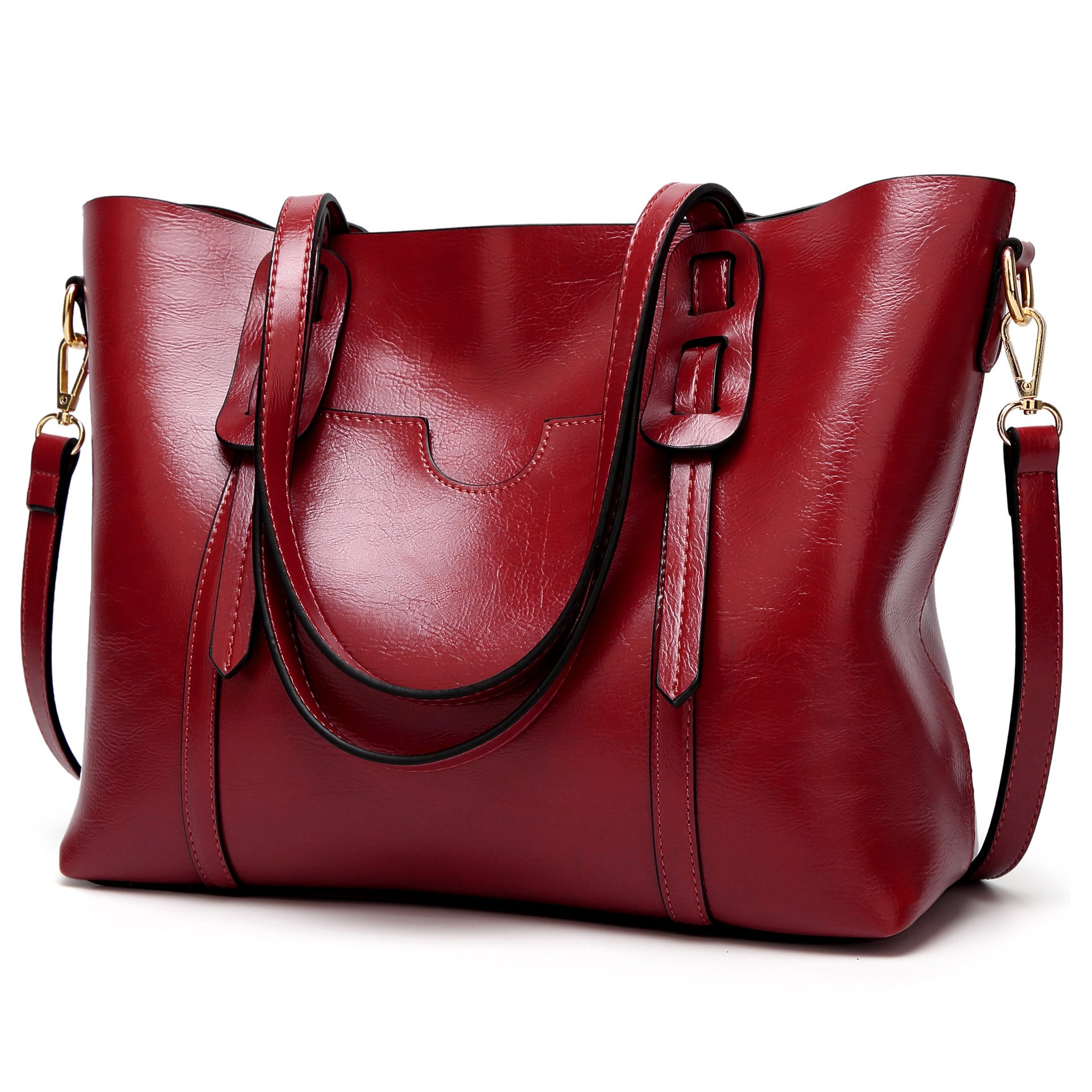 LoZoDo Women Top Handle Satchel Handbags Shoulder Bag Tote Purse (Red2)