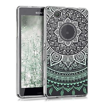 kwmobile Funda compatible con Sony Xperia Z3 Compact - Carcasa de TPU y diseño de sol hindú en menta / blanco / transparente