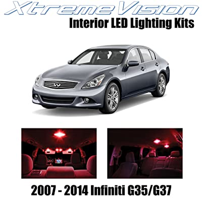 Xtremevision Interior LED for Infiniti G35 G37 Sedan 2007-2014 (10 Pieces) Red Interior LED Kit + Installation Tool: Automotive [5Bkhe2011327]