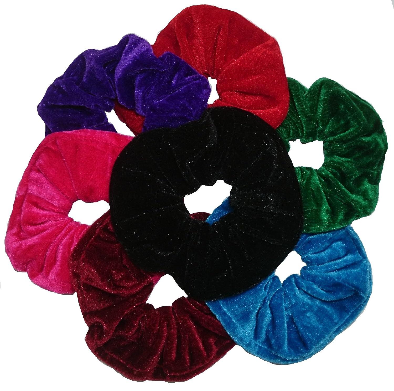 Aadya® Pack of 7 Hair Scrunchies Velvet Elastics Scrunchy Bobbles Hair Bands Hair Ties Ponytail Holders Aadya Trading Ltd