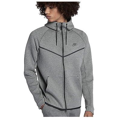 55d7e6e644420 Nike Sportswear Tech Fleece Full Zip Up Hoodie Dark Stucco Heather Black  885904 004 (s